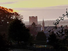 Foggy morning view of Richmond Castle