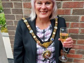 Councillor Lorraine Hodgson celebrating becoming Mayor